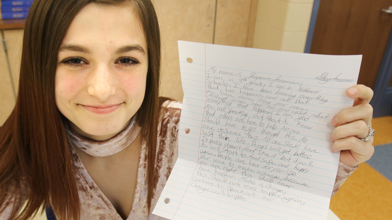 Hubbard students write letters supporting survivors in Fla.