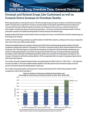 Ohio's opioid epidemic has continued to evolve to stronger drugs, driving an increase in unintentional overdose deaths. The data shows a significant increase in overdose deaths involving the opioid fentanyl and the emergence of more powerful fentanyl-related drugs like carfentanil. Visit yourvoiceohio.org for more information.