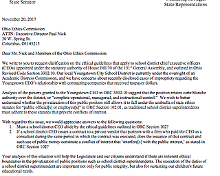 Letter to Ohio Ethics Commission