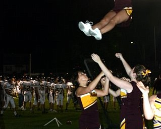 Taylor Hiner, a junior at South Range, flying high because her team won against Mogador.