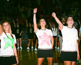 Cheerleaders get the crowd going at the pep rally.