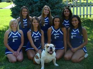 Poland Senior Varsity Cheerleaders pose with Mugsy the Bulldog for that true Bulldog Spirit!
