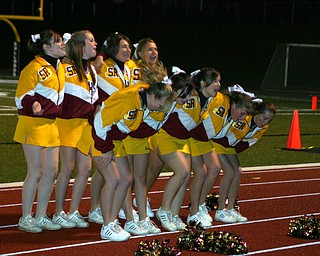 """""""And we're marching...to the beat...!  South Range cheerleaders lead the band in a favorite cheer."""