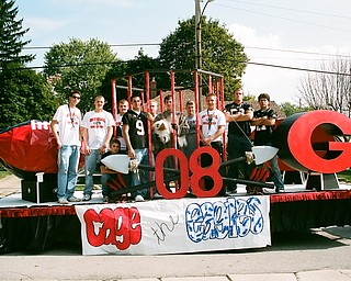 Senior Class Homecoming Float- getting ready for the Homecoming Parade before friday nights game.