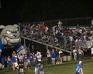 """""""The Bulldog"""" watches over the Dogg Pound during the Poland/Struthers game.  The Dogs chewed up the Cats 45-6."""