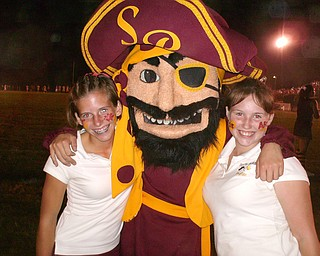 this is picture of the south range raider mascot with Lynni Cramer on the left and Brittany Barron on the left