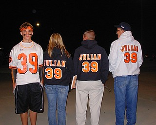 Ryan Julian #39 Green high School fullback, Suported by, Brother Justin, Sister Amanda, Father Mark, and Papa Anthony Julian