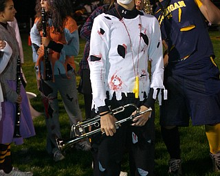 """""""Senior Zombie Devon Parks is ready for the """"Thriller"""" half-time show at the South Range-Springfield game."""""""