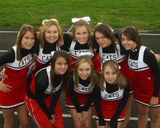 the struthers freshman cheerleading squad. GO BIG RED!  top row, L-R: Kaylee Moore, Sadie Noling, Lauren Eckman, Gianna Sansone, Marissa Dell' Arco. bottom row,: Beth DeSantis, Tricia Hawn, Amanda tonolli