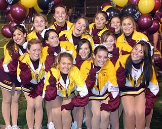 """South Range Cheerleaders say ""We're #1"" in Region 17 before the 1st playoff game against Kirtland."
