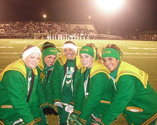 UHS Cheerleaders:  Kayla Spear, Joanne Tombo, Ashley Williams, Lauren Anderson and Cara Mia Gatti, try to keep warm during Ursuline's state semi-final game
