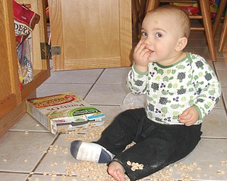 SNACK TIME: Anthony John Tabak,  1, helping himself to a little snack.  Son of John and Lisa Tabak, Jr. of Austintown. Submitted by Lisa Tabak.