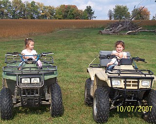 Enjoying a ride at Gaga and Papa's house is (l-r) Delaney Savaet, daughter of Kerri and Bryan Savaet, and Gianna Piccuta, daughter of Melanie and Bill Piccuta.  The girls are the granddaughters of Cheri and Stan Savaet of New Middletown.