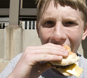 There was nothing calm about the way Jason Shilling, 13, of Boardman, devoured a burger after the race.