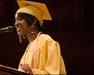 6.1.2008 Liberty High School's Senior Class President, Janell Heggins, speaks to her fellow graduates class Sunday afternoon, at Stambaugh Auditorium.