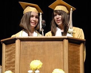 Valedictorian Maureen Sweet, left, and Salutatorian Kristen Placer broke over a century of Warren G. Harding High School commencement tradition by delivering a shared speech.