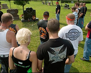 7.6.2008 Motorcyclists pay their respects at the grave of Matthew Adam Tynal who passed away from a motorcycle accident on July 1, 2007.