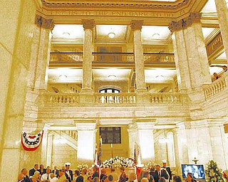 PAYING RESPECTS: Hundreds came out to pay their respects to Hanni in the rotunda of the Mahoning County Courthouse.