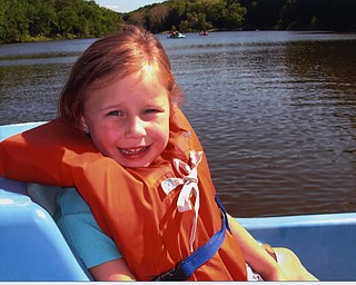 Madelyn Rose Smith, 4, takes her first paddle boat ride. Picture submitted by Alilison Smith of Youngstown.