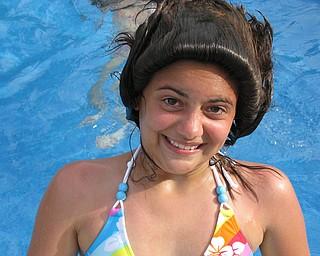 """Taylor Jones of Austintown making """"hairdos"""" in Grandpa's pool!"""