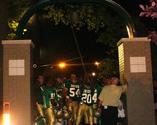 The first ring, by Justin Austin, of Ursuline's new victory bell!