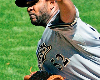 CC'S GEM: Milwaukee Brewers pitcher CC Sabathia delivers a pitch against the Pittsburgh Pirates in the eighth inning of Sunday's game at PNC Park in PIttsburgh. Sabathia threw a one-hitter in the Brewers' 7-0 win.
