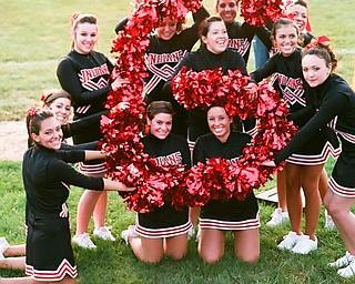 Girard Varsity cheerleaders left -right  Giovanna DelGarbino, Julie O'Neill,Gina Howley, Gina Ponzio, Julia Guerrieri, Kacy Standohar, Kaitlin Lehner, Sarah Blair, Center -Jessi Fonce,Kneeing -Karisa Tondo-Kramer, and Molly Breese