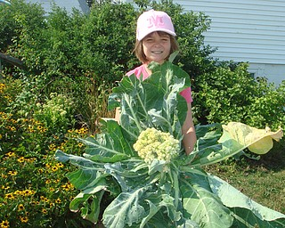 Morgan Wigle holds an extra-large cauliflower that she grew as a Mill Creek Metroparks Veggie Gardener . Morgan is now a Green Thumb Volunteer with the program. Photo by Roselyn Gadd, Veggie Photographer