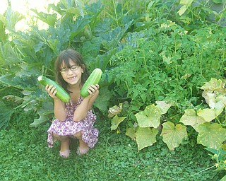 Amber Sierra, 7, in front of the family garden they planted for the first time this year. She did a lot of the work herself.  She is holding a cucumber and zucchini from the garden. She is the daughter of Kerry and Mike Sierra of Austintown.
