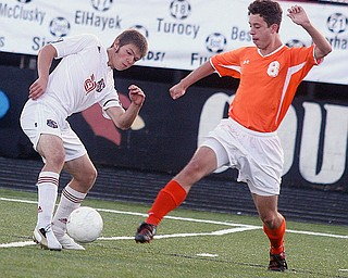 ONE AGAINST ONE: Nate Merhaut, left, of Canfield and Ethan Kuszmaul of Howland battle for the ball during Tuesday's soccer match at Canfield.