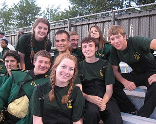 Ursuline Band Members (front row): Ben Smith, Mike Thomas, Erin Bouquet, and Jimmy Hungerford.  (back row): Jen Stevens, Evan Sander, Daniel Gleydura, Annie Cadle, and Marshall Finelli at Ursuline's win over Mentor Lake Catholic Friday night in Mentor.