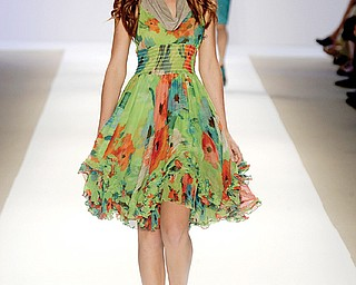 FLOWERS EVERYWHERE: The spring 2009 Nanette Lepore collection featured lots of florals, including this colorful dress. But flower designs also showed up on cargo pants and in many unexpected places.