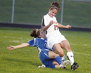 HOWLAND - POLAND - (17) Jessica Prokup of Howland and (10) Vivien Clayton of Poland take a spill during their game Thursday night.