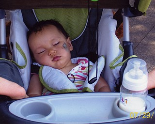Aydan Kotarski, 10 months, takes a snooze at Cedar Point. She was there with her parents, Adam and Lori Kotarski of Las Vegas and her aunt, Amy Santoro of Canfield, who shot the photo.