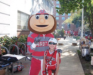 Robert Fay with Brutus the Buckeye in Columbus at the OSU/YSU football game! Debbie Fay Hubbard, OH