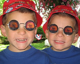 The photo of the crazy glasses, are of my twin Nephews Joshua Anthony Maggieand JordanRobertMaggie. We were getting ready to take a vacation to Ocean City Maryland and we purchased these glasses so that they could have fun on the way down...starring out the windows at the other drivers. They are both wild and crazy kids, who loved playing around with the glasses. We are all from New Castle, Pa. -- Mackenzie Jo Maggie