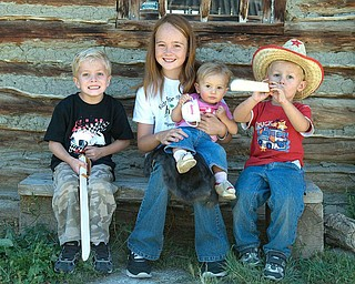 Here is a shot from our vacation to Fort Bridger, Wyoming.  Pictured from left to right are Nicholas LaPlante, Venice Sheehan (Wood's Landing, WY) Hannah LaPlante, and Alex LaPlante (the LaPlante kids are from Poland, OH. Venice is their cousin who traveled from Woods Landing, WY).