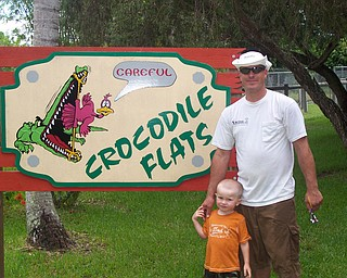 Seth Matey of New Springfield with son Ryan outside of the Alligator Farm in the Everglades