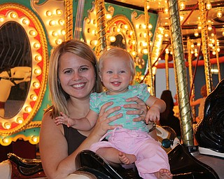 Picture #1 - Payton and Mommy (Alyson), Payton's first carousel ride at the Canfield Fair Chad and Alyson Zwingler Canfield
