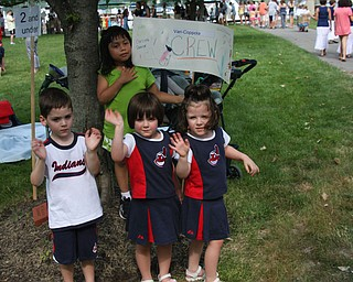 Picture was taken at the 16th annual Triplet Convention in Niagara Falls, NY July 12th 2008. The picture is of the Triplet Parade which was held at the Buffalo Launch Club - and the triplets in the picture are: Patrick, Carlina and Lily Vari-Coppola and Big Sister Kate.   This was our famiy vacation for 2008. Photo by;  Mom Jodi