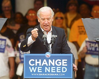 About 700 people attended a rally at the Warren Community Amphitheatre to hear Democratic vice presidential candidate Joe Biden speak. The 34-year U.S. senator from Delaware spoke Tuesday morning.