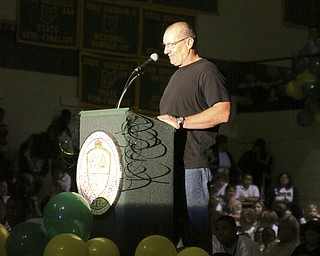 A visit to Ursuline High School for their pep rally on Thursday October 16th; the day before the big 50th anniversary game vs. Mooney High School. Ed O'Neil gives a short speech.
