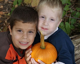 Sally Erb of Mineral Ridge photographed two of her three sons with their pumpkin. Evan, 6, and Ethan, 4, posed for mom after Evan came home from school, where they vissited Detwiler Farm in Columbiana.
