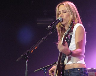 Sheryl Crow at the Get Out and Vote '08 show at the Chevrolet Centre Wednesday night.