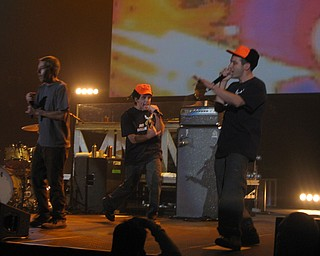 Ben Stiller with the Beastie Boys at Get Out and Vote '08 show at the Chevrolet Centre Wednesday night.