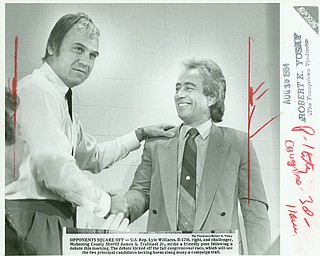 Aug 30, 1984: Then-Congressman Lyle Williams, right, a Republican anomaly in the heavily Democratic 17th District, shakes the hand of the opponent who would finally oust him from a three-term run in the U.S. House, James A. Traficant Jr. Traficant, then-Mahoning County sheriff, went on to serve 17 years in the House himself before being sent to prison in 2002 for eight years for racketeering, bribery, obstruction of justice and tax evasion.