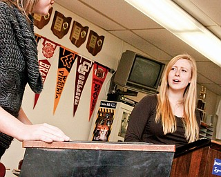 Liza Wood (17) and Elena Svenson (18), both of Boardman, are seniors at Boardman High School preparing for their debate at Austintown Fitch this weekend. Its part of practicing for the 2008-2009 Lincoln-Douglas Debate, a series of debates at local schools.