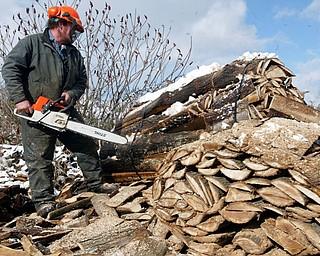 Bill Spithaler of Gustavus Hardwoods cuts firewood.
