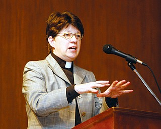Bishop Elizabeth Eaton explored the role of people of faith in America's political process. at a prayer breakfast at Maronite center in Austintown Tuesday Morning