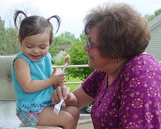 "Adriana Trafficante of Boardman, Ohio with grandma ""beeps""  Bernadette Ezzo of Youngstown, Ohio.  Picture taken by John Trafficante."
